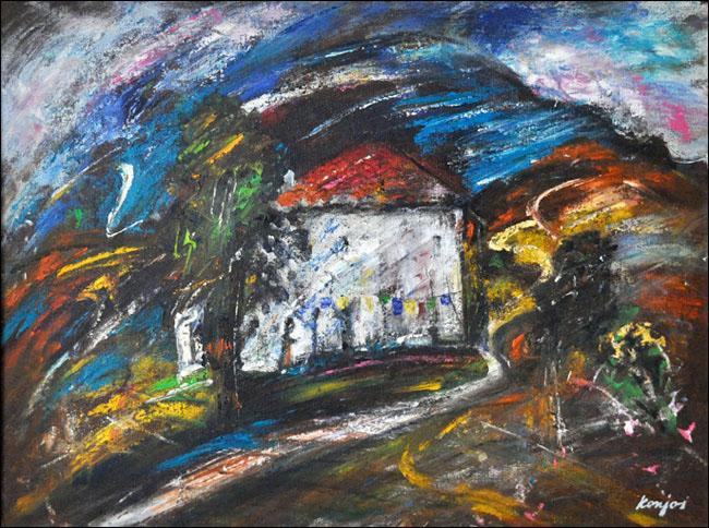 [23] Usamljena kuća, 1980, ulje na platnu, 60x80 cm [cena: 400]